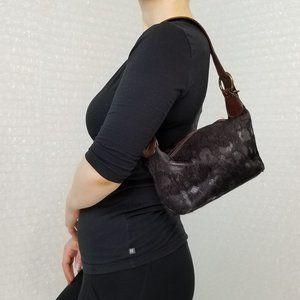 Le Solim dark brown leather & fur small purse